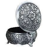 Unendlich U Rund Rose Gravur Damen Antiken Silbern Metalllegierung Schmuckkasten Schmuckkoffer Schmuckkästchen-Klein