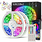 LED Strip Lights with Remote, LATKRUU 15M LED Lights with Bluetooth APP Control & 44-Keys Remote, Music Sync Colour Changing Mood Led Light Strip RGB 5050 LED Strip Lighting for Bedroom & Home Party…
