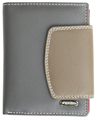 Felda - Damen Geldbörse aus Echtleder - Kartenfächer & Münzfach - RFID-Blocker - Mehrfarbig - Champignon Mehrfarbig