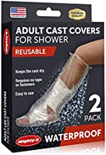100% Waterproof Cast Cover Leg - 【Watertight Seal】 - Reusable 2 pk Cast Protector for Shower Leg Adult Knee, Ankle, Foot - Half Leg Covers