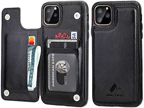 iPhone 11 Pro Max Funda tipo cartera con tarjetero, piel premium MELTROZO, cierre magnético doble, funda protectora para iPhone 11 Pro Max (6,5 pulgadas), (negro)