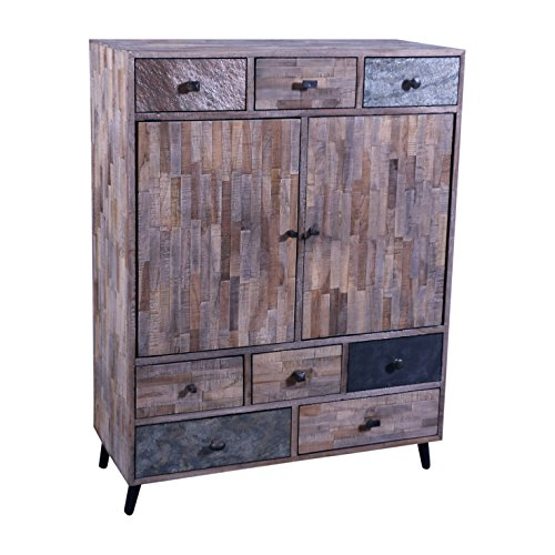 The Wood Times Kommode Schrank Massiv Vintage Look Kean Teak, BxHxT 90x118x40 cm