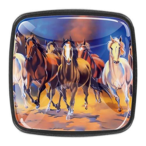 Möbelknöpfe mit Seven Horse Painting in Vaastu Pferden, quadratisch, 4 Stück