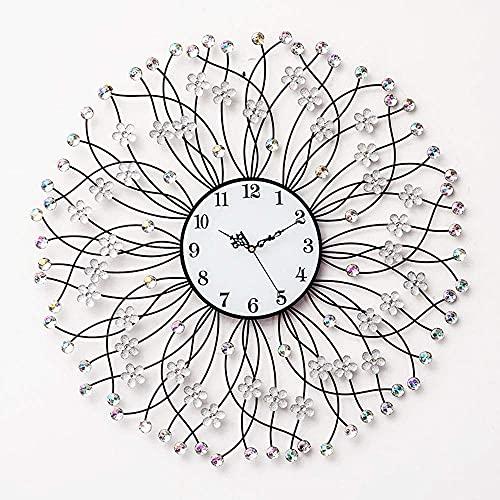 RTYUI Relojes de pared con diamante de cristal, decoración en forma de flores de metal 3D, relojes silenciosos, relojes de pared para sala de estar, silenciosos y modernos de cuarzo, 69 x 69 cm