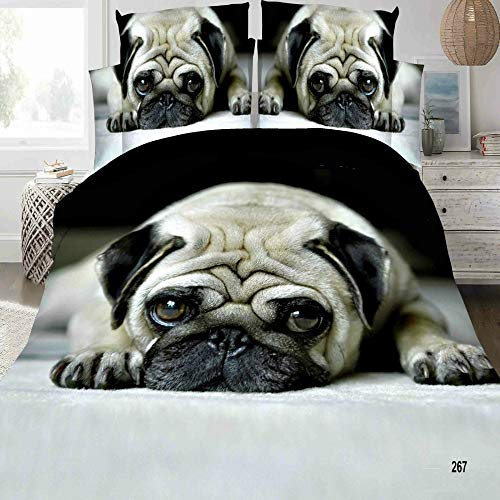 3d New Pug Dogs Effect Complete 4 Pieces Duvet Quilt Cover Bedding Set (267 Pug Dogs, King)