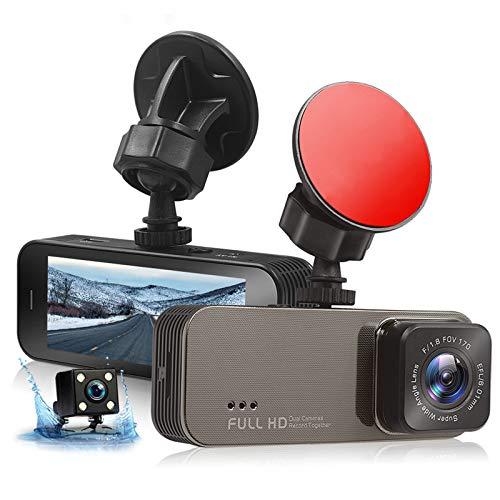 Cámara de Coche Dash CAM 1080P Cámara Doble para Coche Cámara Delantera y Trasera Full HD con WDR 170 ° Gran Angular, Grabación en Bucle, Sensor G, Monitor de Estacionamiento