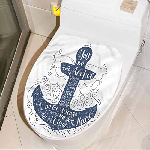 Toilet Seat Wall Decal Sticker Anchor, Doodle Marine Motif 3D View PVC Wall Stickers Decor for Toilet Halloween Bathroom DIY Home Decor 13 x 16 Inch
