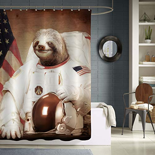 """MitoVilla Sloth Astronaut Shower Curtain for Sloth Gifts, Funny Cartoon Animal NASA Sloth Bathroom Decor for Women, Men, Kids Girls and Boys, Waterproof Bathroom Accessories, Brown, 72"""" W x 72"""" L"""