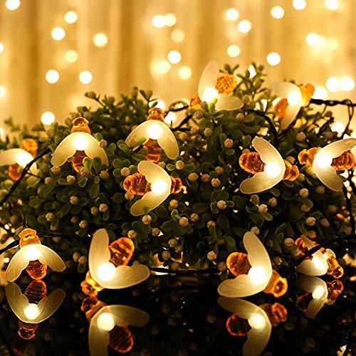 WAZA Catena di Luce Solare LED Decorativa Corde di Luci da 6,5m 30 LED 8 Modalità IP44 Ape Ghirlande Luminose per Giardino Terrazza Prato Cortile Camera da Letto Soggiorno Matrimoni Feste