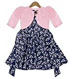 Fashion Dream Baby Girl's Floral Print Shrug Style Midi Dress/Frock (Baby Pink_7-8)