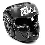 Fairtex HG-13 Protector de cabeza de cobertura completa, casco de boxeo, protector de cabeza tailandés, boxeo K-1 MMA Head Gear Guard protector protector Muay Thai (negro, mediano)