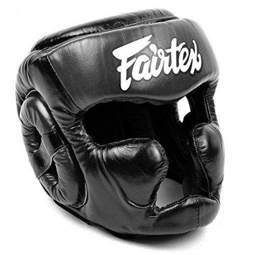 Fairtex HG13 Kopfschutz mit diagonaler Ansicht, zum Schnüren, für Thaiboxen, K-1 MMA (schwarz, groß)