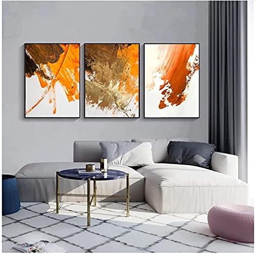 YHJK Arte de la Lona Imagen Moderna Naranja Gris Pintura al óleo Cartel Abstracto Monocromo Arte de la Pared impresión Lienzo Pintura Sala de Estar decoración 3x60x80cm sin Marco