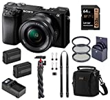 Sony Alpha A6100 Mirrorless Digital Camera, with 16-50mm Lens (Black) Advanced Bundle with Neck Strap, Battery, Charger, Filter Kit and Accessories