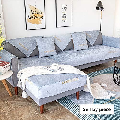 QBFT Zuivere Kleur Borduurwerk Sofa Cover Eenvoudige Universele Sofa Protectors Van Huisdieren Anti-slip Comfortabele Stoelhoezen 1/2/3/4 Seater Voor Hoekbank L Vorm Etc