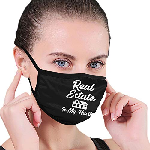 Face Mask Real Estate is My Hustle Funny Realtor Earloop Face Anti Dust Mouth Mask for Men Women Unisex Black