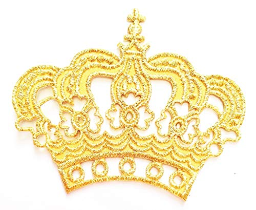 PP Patch Gold Queen Princess Crown Cartoon Kid Patch Sticker Symbol Jacket T-Shirt Patch Sew Iron on Embroidered Sign Badge Costume
