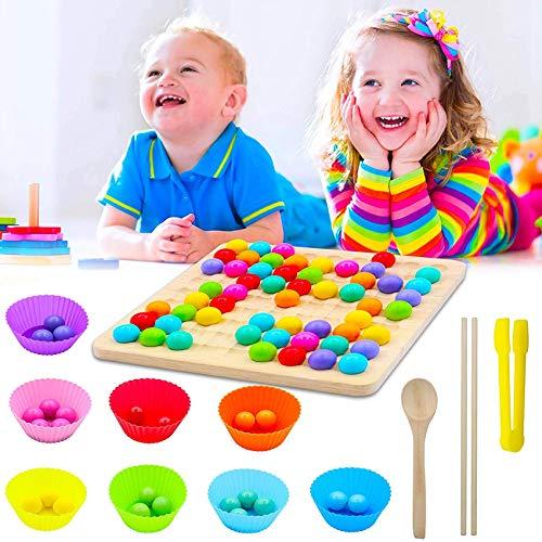 Holz Clip Beads Brettspiel,Early Education Puzzle Brettspiel,Rainbow Bead Game,Wooden Go Games Set,Montessori Pädagogisches Holzspielzeug,Puzzle Brettspiel,Holz Go Spiele Set (A)