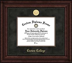 Laminated Visuals Crown College Storm - Gold Medallion - Suede Mat - Mahogany - Diploma Frame