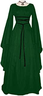TBATM Women Medieval Costume, Round Collar Long Sleeve Renaissance Vintage Retro Dress with Irregular Long Sleeve Floor Length Palace Royal Court Princess Costume,Green,L