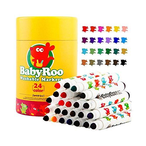 Huluwa Markers Painting Drawing Children Makers Set, Easy to clean, Washable, Non-Toxic Safe for Toddlers, Kids and Children, 24 Colors