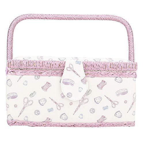 Cestino da cucito rosa, cestino da cucito vintage Organizzatore per scatola di immagazzinaggio con ago per filo artigianale in tessuto per uso domestico