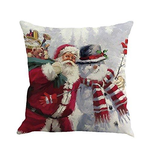 Funda de Almohada navideña, Funda de Almohada con Estampado de Papá Noel, cómoda Funda de Almohada con Textura de Lino