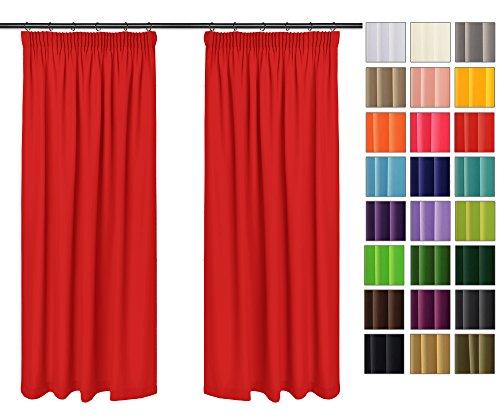 Rollmayer Vorhänge mit Bleistift Kollektion Vivid (Rot Mexikanisch 45, 135x175 cm - BxH) Blickdicht Uni einfarbig Gardinen Schal für Schlafzimmer Kinderzimmer Wohnzimmer