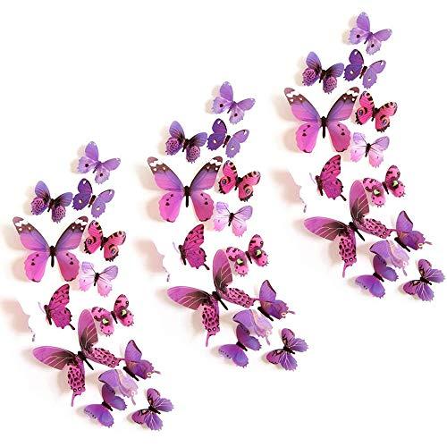 Mariposas Decorativas 3d, 36 piezas Mariposas Decorativas Púrpura, Mariposas Decorativas 3d Pegatinas pared Decorativas Dormitorio