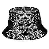 Henry Anthony Fisher Hat Mujeres y Hombres, Dios nórdico Odin con Cuervos y Espadas. Ilustración gráfica en The Ring Bucket Hat One Szie Boonie Cap