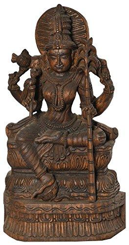 Diosa Rajarajeshwari (Tripura Sundari) - Templo de la India del Sur Talla en Madera