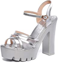 Summer women's thick low heels ankle with open toe sandals (silver,Lable 39/8 B(M) US Women)