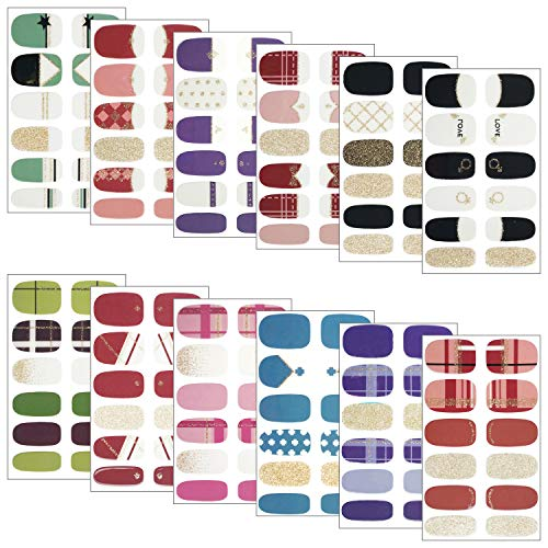 Gresunny 12 Sheets Full Wraps Nail Polish Stickers Self-Adhesive Nail Art Decal Strips Waterproof French Manicure Kits with Nail Files Nail Art Sticker Designs for Women Girls