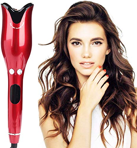 1 Inch Curling Iron,Automatic Curling Iron,Rotating Ceramic Curling Iron with LED Temperature Display and Timer, Rose Professional Air Spin N Curl Hair Curler-Red.