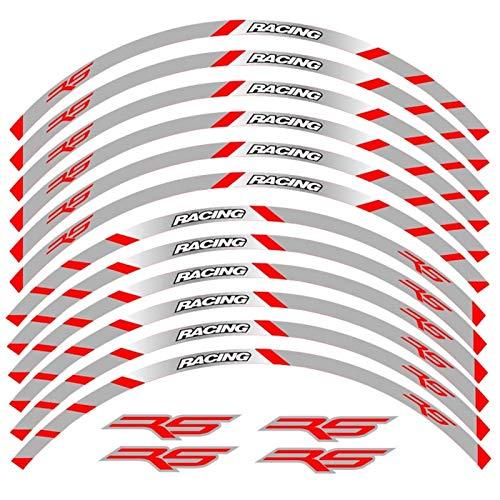 Motos Calcomanías 12 Strips Motocicleta Calcomanías Reflectantes Ruedas Moto Rim Pegatinas Decoración Estilo Pegatina RIZ para RS RS125 RS 125 Pegatinas (Color : 240323)