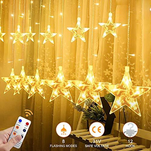 YINUO LIGHT LED Lichterkette mit 12 Sterne, 138 LEDs Lichterkettenvorhang, 8 Modi Dimmbar, Controller mit Speicherfunktion, IP44 Wasserfest für Weihnachtsdeko Innen und Außen Garten Party Hochzeit usw