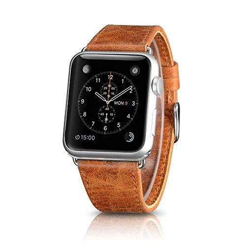 CoverKingz Armband für Apple Watch Series 6/SE/5/4/3/2/1 Lederarmband 42mm/44mm Ersatzarmband Hellbraun