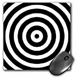 3dRose LLC 8 X 8 X 0.25 Inches Black and White Bulls Eye Pattern Mouse Pad (mp_26099_1)