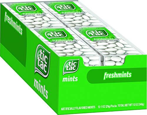 Tic Tac Fresh Breath Mints, Freshmint, Bulk Hard Candy Mints, 1 oz Singles, 12 Count, Perfect Halloween Treats for Boys and Girls