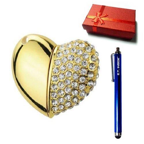 E.T. INSIDE Half Kristal Hart Sieraden Ketting USB Flash Drive in Geschenkdoos Merk Stylus 2GB goud