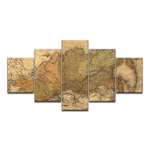 jucsaist 5 Paneles De Pintura,Póster Artístico,Mapa De Rusia,Pintura De Tela,Mapa Retro,Dormitorio,Sala De Estar,Sala De Estar,Frameless