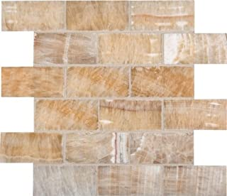 MS International 12 in. x 12 in. Honey Natural Stone Onyx Subway Mesh-Mounted Mosaic Tile - Box of 5 sqf