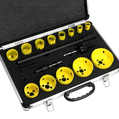 WiMas 17PCS Bi-Metal Hole Saw Set, Heavy Duty Steel Corn Hole Drilling Cutter Set, 3/4 Inch to 3 Inch Downlights Drill Bit Tool for Cutting Wood Plastic Aluminum Metal Stainless Steel