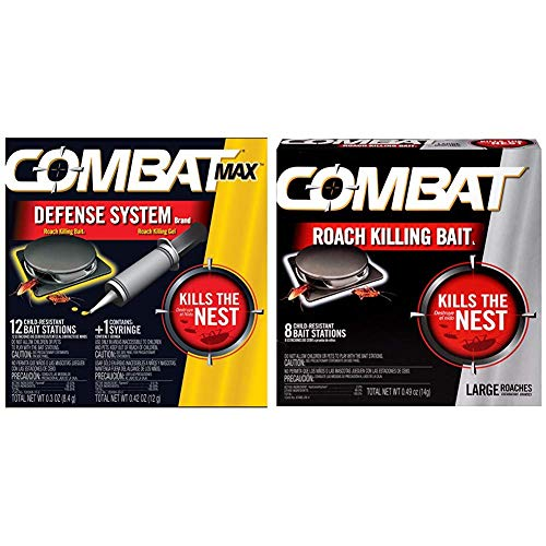 Combat Roach Killing Bait, Large Roach Bait Station, 8 Count (780059/41913) and Combat Max Defense System Brand, Small Roach Killing Bait and Gel, 12 Count