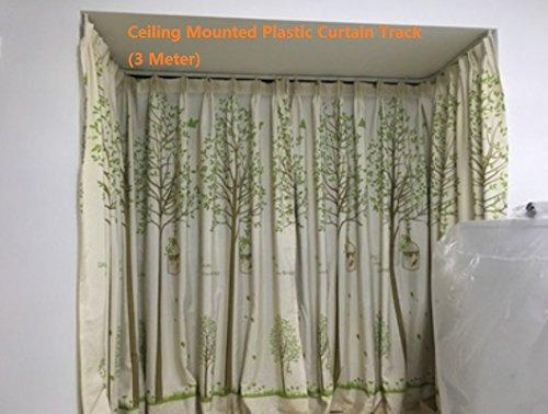 Stabile und biegsame Vorhangstange aus Kunststoff, für die Deckenmontage, 3 m, Textil, 3 m