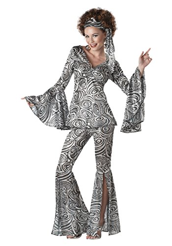 Women's Foxy Lady Disco Costume Large White,Black