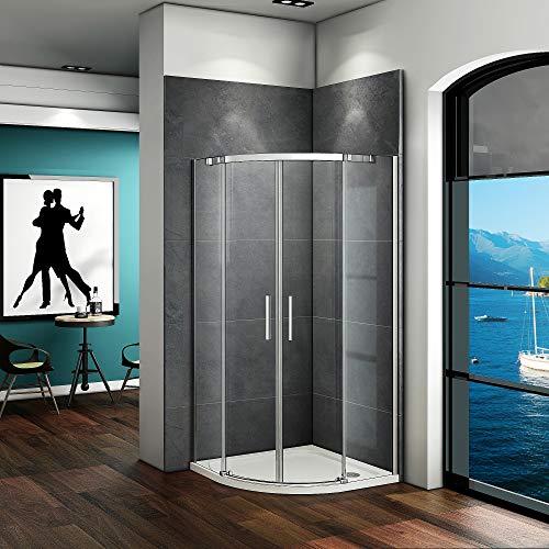 Aica Sanitär 90x90cm Duschkabine Viertelkreis 6mm Glas Runddusche Dusche Duschabtrennung H195cm D