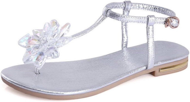 WeiPoot Women's Soft Material Split-Toe Low-Heels Solid Buckle Sandals