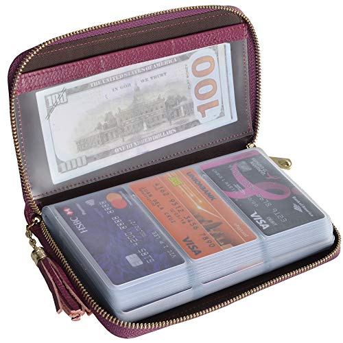 Easyoulife Credit Card Holder Wallet Womens Zipper Leather Case Purse RFID Blocking (Purple)