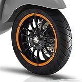 12 Tiras para Vespa 946 GTS250 300 SPRIT PRIMAVERA 150 LX125 Etiqueta de rueda de la motocicleta Pegatina Reflectante RIM ADECUADA AREDEDOR (Color : Yellow)